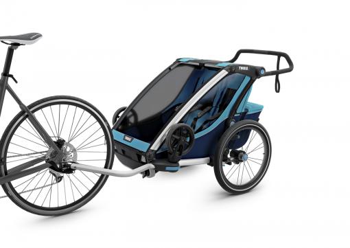 thule chariot cross blå cykelvagn