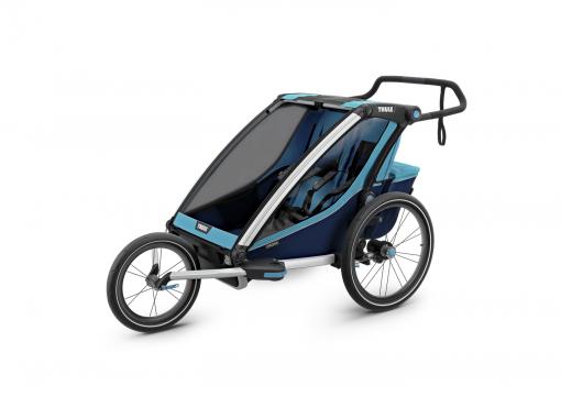 thule chariot cross 2 blå joggingvagn