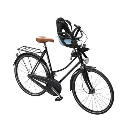 thule yepp nexxt mini aquamarine monterad fam på cykel