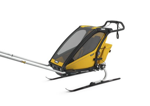thule chariot sport black spectra yellow skiing