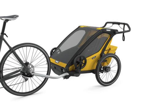 thule chariot sport 2 spectra yellow cykelkit monterad