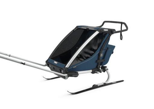 thule chariot cross 2 majolica blue skiing kit